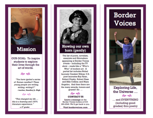 BORDER VOICES EXPLORING LIFE BROCHURE